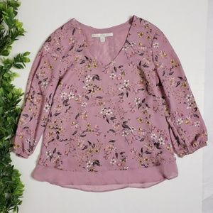 LC LAUREN CONRAD Floral Tiered Lace Back Blouse